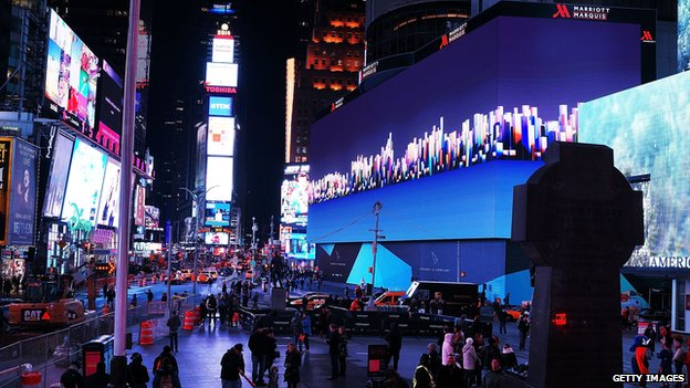 "Billed as Times Square""s largest and most expensive digital billboard, a new megascreen is debuted in front of the Marriott Marquis hotel on November 18, 2014 in New York City"