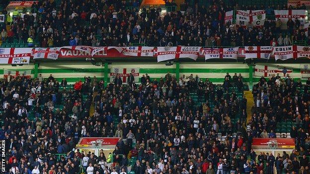 England fans, against Scotland at Celtic Park