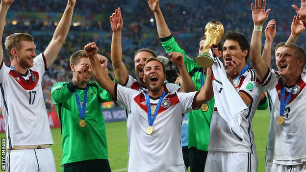 Germany players hold the World Cup trophy aloft