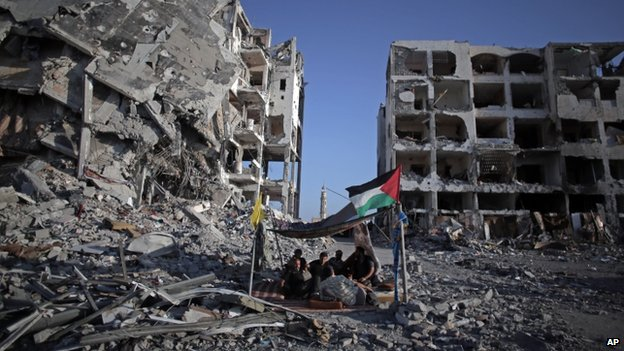 The bombarded town of Beit Lahiya in the northern Gaza Strip (11 August 2014)
