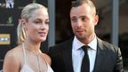 Oscar Pistorius and Reeva Steenkamp during the Feather Awards held at Melrose Arch in Johannesburg