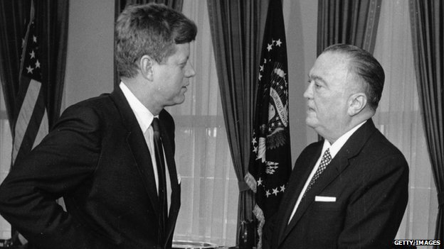 FBI Director J Edgar Hoover speaks with President John F Kennedy in 1961.