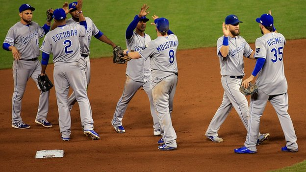Kansas City Royals celebrating after a World Series win.