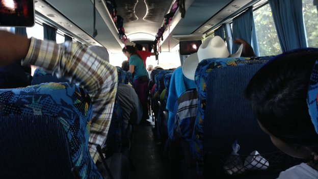 On board one of the buses which has been travelling around Mexico to protest against the vanishing of 43 students