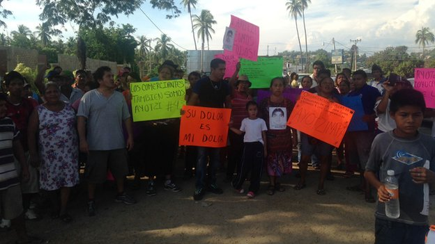A protest at a Mexican village for the 43 missing students