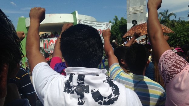 A protest rally in Mexico on behalf of the 43 missing students