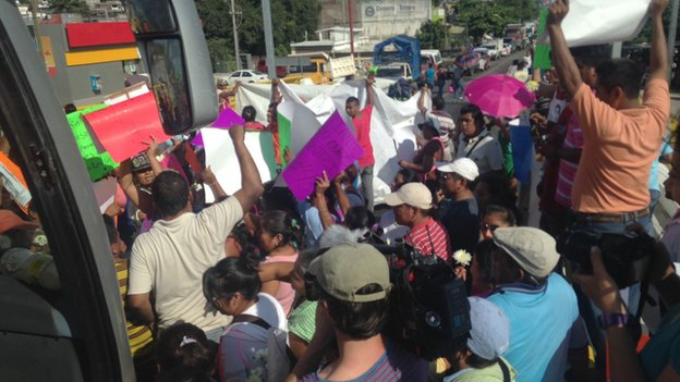 A roadblock in Mexico, set up in support of friends and relatives of 43 missing students