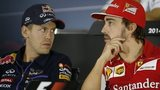 Vettel and Alonso at Thursday's news conference in Abu Dhabi