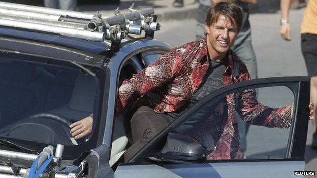 Tom Cruise on set of Mission Impossible 5
