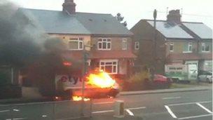 Blazing van on Luton Road, Dunstable, Bedfordshire
