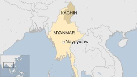 Myanmar map, with Kachin state