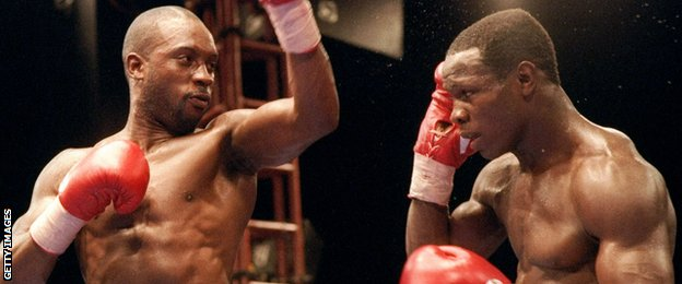 Nigel Benn and Chris Eubank trade blows during their fight in 1993