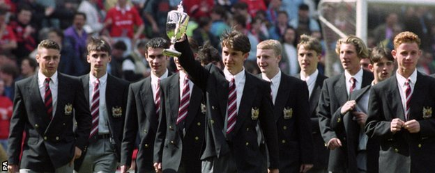 The Manchester United youth team 1992