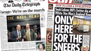 Composite image of Telegraph and Sun front pages
