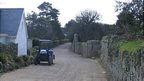 Tractor in a lane in Sark