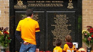 Memorial to victims of the Bradford City fire at Valley Parade