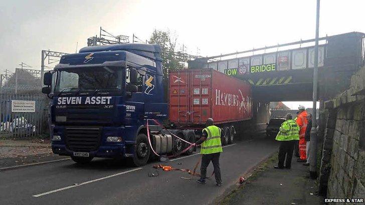Lorry in Staffordshire stuck under bridge