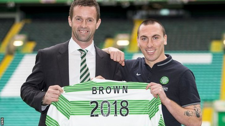 Celtic manager Ronny Deila with skipper Scott Brown