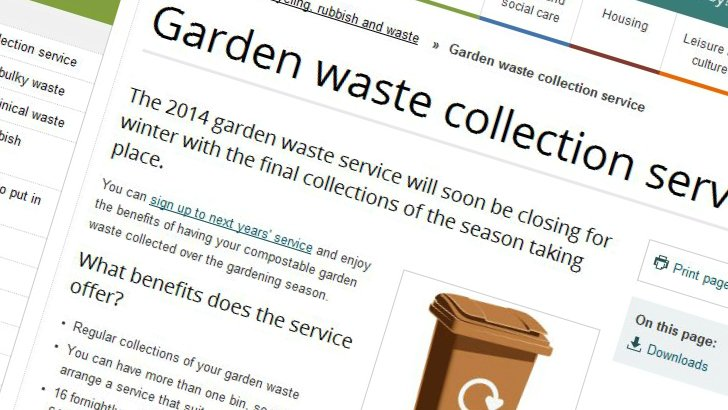 Brown bin charge information page