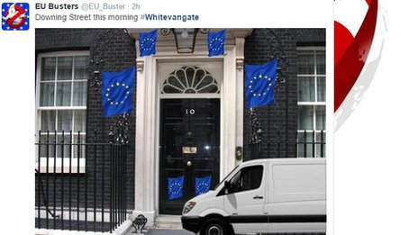 White van parked outside Downing Street