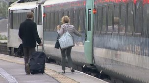 Commuters catch Abellio Great Anglia train in Norwich