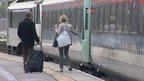 Commuters catch Abellio Great Anglia train in Norwich