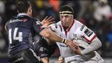 Ospreys wing Tom Grabham challenges Ulster's Rob Herring