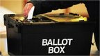 Person putting voting slip into ballot box
