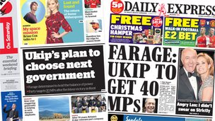 Composite image of i and Express front pages