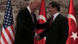 Joe Biden meets the Turkish Prime Minister, Ahmet Davutoglu