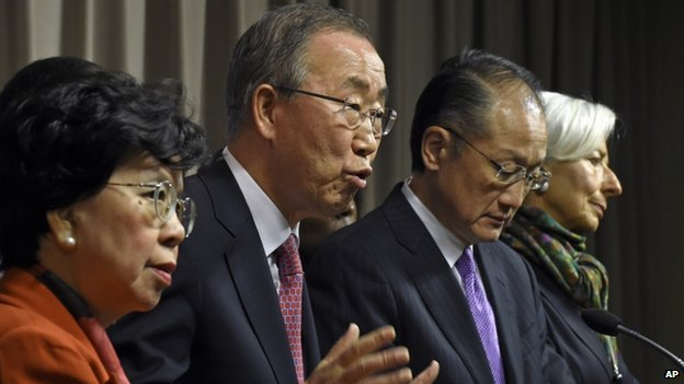 From left to right: WHO chief Margaret Chan, UN Secretary General Ban Ki-moon; World Bank chief Jim Yong Kim and IMF director Christine Lagarde