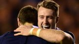 Stuart Hogg congratulates Tommy Seymour on scoring a try for Australia