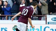Jason Holt celebrates after scores for Hearts against Rangers