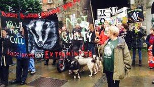 Protestors in Winchester