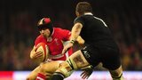 Leigh Halfpenny against Richie McCaw for Wales v New Zealand