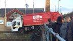 Bin lorry on Hawes Pier