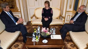 John Kerry, Catherine Ashton and Mohammad Javad Zarif in Vienna, 22 Nov