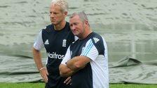 England cricket coach Peter Moores (left)