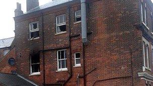 A fire-damaged building