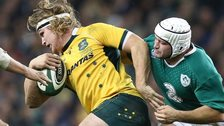Rory Best is about to tackle Australia's Michael Hooper in Saturday's game in Dublin