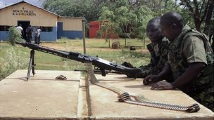 Police officers in Mandera following a deadly bus attack