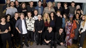 "Band Aid 30 artists recording a new version of the song Do They Know It?s Christmas?, to be released in order to raise money for charity, specifically the ebola crisis in west Africa, SARM Studios, Notting Hill, London, UK, 15.11.2014. the group line up.Top Row L-R: Kyle Simmons (Bastille), William Farquarson (Bastille), Guy Garvey (Elbow), Chris ""Woody"" Wood (Bastille), Chris Martin, Dan Smith (Bastille), Seal, Sir Bob Geldof, Karl Hyde (Underworld), Roger Taylor, Joe Suggs (Thatcher Joe Youtube), Alfie Deyes (Youtube), Milan Neil Amin-Smith (Clean Bandit) and Grace Chatto (Clean Bandit) Second Row L-R Louis Tomlinson, Zayn Malik, Liam Payne, Niall Horan, Harry Styles, Olly Murs, Sinead O""Connor, Ellie Goulding, Jessie Ware, Ed Sheeran, Zoella (Youtube), Angelique Kidjo, Emeli Sande, Paloma Faith.Front Row crouching L-R Midge Ure, Bono"