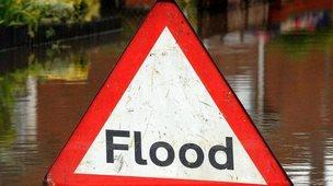 Flood warning sign