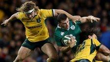 Robbie Henshaw is tackled by Australia's Michael Hooper and Matt Toomua in Saturday's Test in Dublin