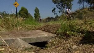 Drain where the baby was found near the M7 motorway at Quakers Hill, western Sydney, 23 November 2014