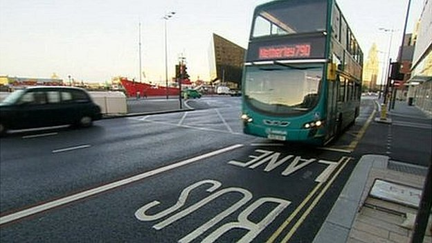 Bus on bus lane in Liverpool