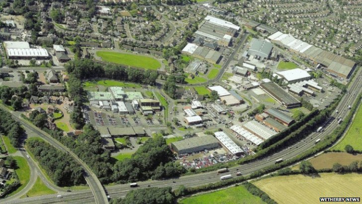 Aerial view of Sandbeck Industrial Estate and A1 in Wetherby