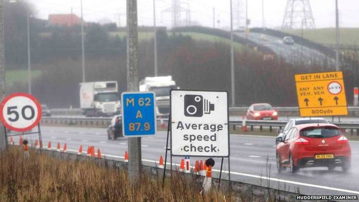 Speed restrictions on the M62