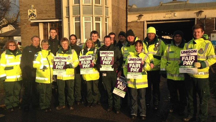 Paramedics on the picket line in Huddersfield