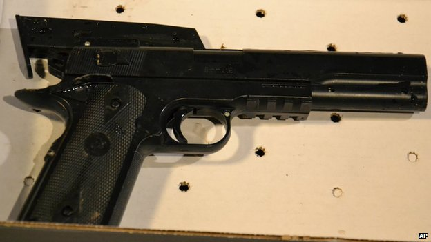 The BB gun taken from the 12-year old shot by Cleveland police [23 November 2014)